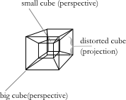 4d cube tesseract with perspective and projection